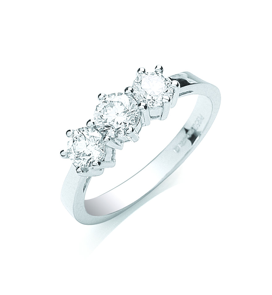 cut diamond rings trilogy three brilliant stone ring