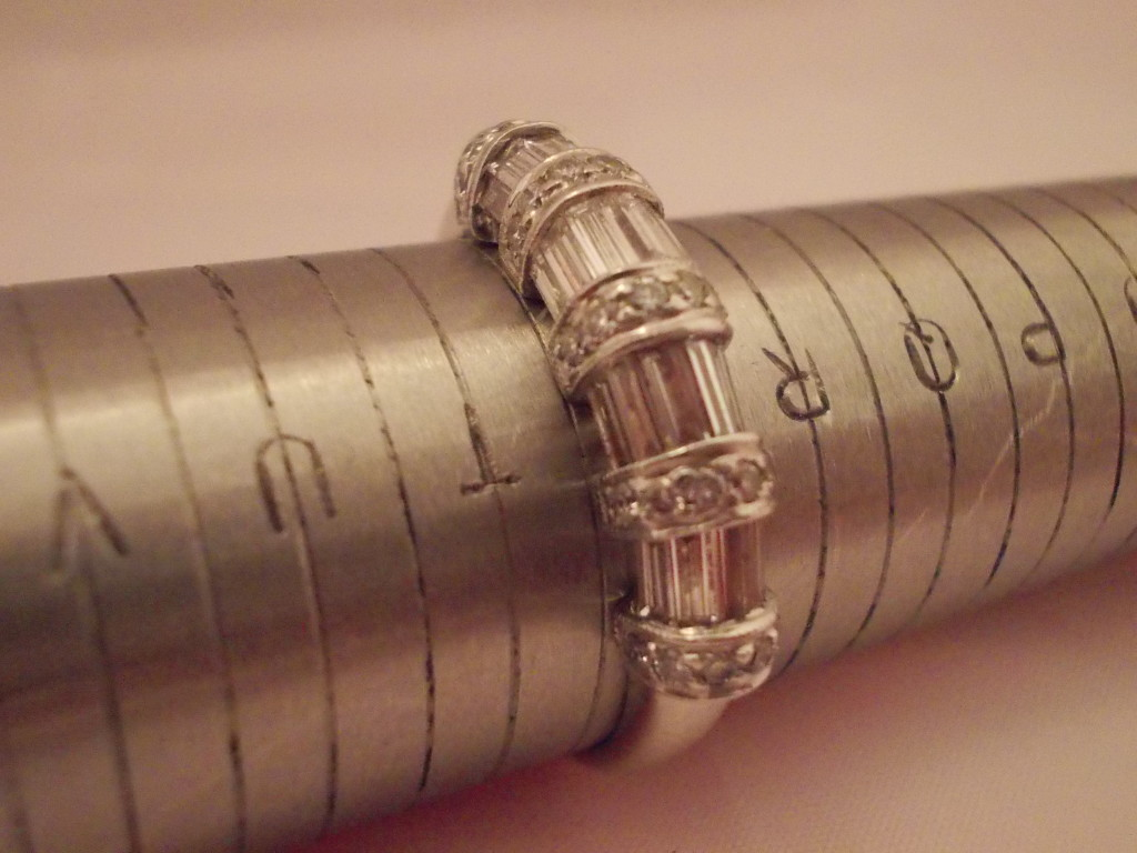 18ct white gold baguette and round diamond eternity